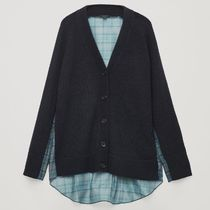 """COS"" WOVEN-KNIT MIX CARDIGAN NAVY"