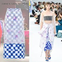 【19SS】★Dries Van Noten★Floral and checked midi skirt