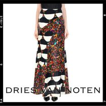 SALE【Dries Van Noten】printed velvet maxi skirt