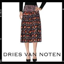 SALE【Dries Van Noten】printed silk pleated midi skirt