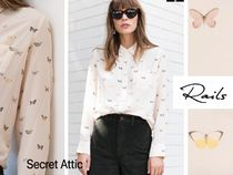 セレブ愛用&蝶々柄★Rails Kate Silk Blush Butterflies Shirt