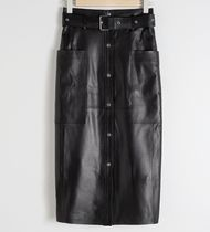 """& Other Stories"" Belted Leather Midi Skirt Black"