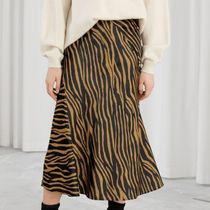 """& Other Stories""AnimalPrint Midi Skirt Zebra"