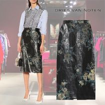 【19SS】★Dries Van Noten★Embroidered faux leather skirt