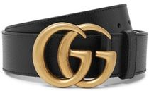 ★関税負担★GUCCI★4cm Dark-Brown Full-Grain Leather Belt