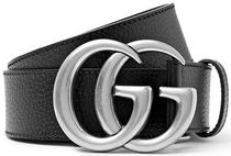 ★関税負担★GUCCI★4cm Black Full-Grain Leather Belt