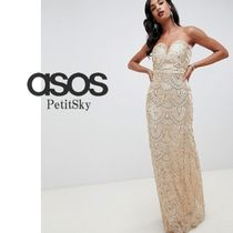 ASOS☆TFNC patterned sequin beandeau maxi dress in gold♪