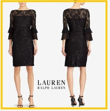 Lauren Ralph Lauren Sheer-Yoke Lace Dress ワンピースドレス