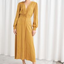 """""""& Other Stories"""" Ruched Jacquard Midi Dress Yellow"""