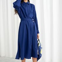 """""""& Other Stories"""" Belted Lyocell Midi Dress Blue"""