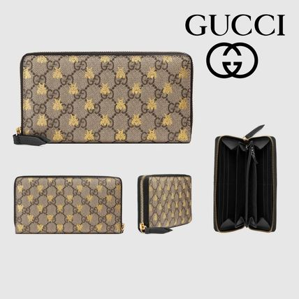 new arrival 5ad98 a4a1b 【GUCCI】GGスプリーム☆ビープリント*ラウンドファスナー長財布