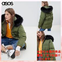 【ASOS】puffer jacket with waist detail and faux fur hood1