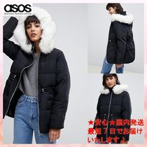 【ASOS】puffer jacket with waist detail and faux fur hood2