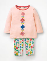 【Boden】お花アップリケ長袖Tシャツ&花柄レギンス 0-18m