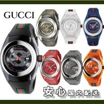 ★GUCCI★Unisex XXL Swiss Sync Striped Rubber Strap Watch