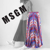 関税送料込【MSGM】 printed pleated skirt