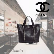 【CHANEL】Small tote Calf, eyelet, tweed & silver metal