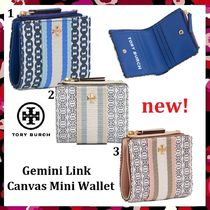 新作 セール Tory Burch Gemini Link Canvas Mini Wallet 小財布