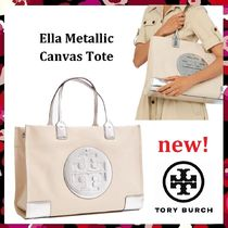 セール新作 Tory Burch Ella Metallic Canvas Tote(大) A4収納OK
