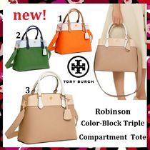 新作 Tory Burch Robinson Color-Block Triple Compartment Tote