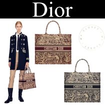 Dior Book Tote 新作 トートバッグ 赤 青 キャンバス 刺繍 動物