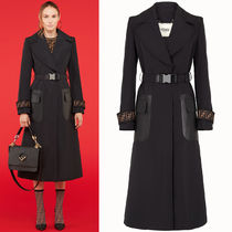 FE2431 FAILLE TRENCH COAT WITH FF LOGO CUFF