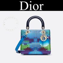 Dior 限定 Lady Dior コラボ バッグ 青 ロゴ チェーン オーバル
