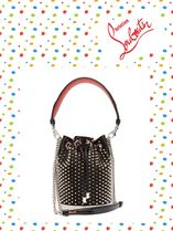ChristianLouboutin/Marie Jane satin and leather bucket bag