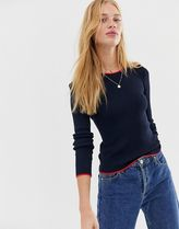 JDY contrast edge rib jumper in navy