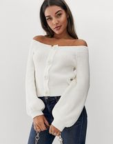 ASOS DESIGN chunky bardot cardigan with button detail