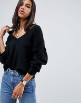 ASOS DESIGN fluffy jumper with v neck