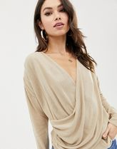 ASOS DESIGN drape wrap jumper in fine knit