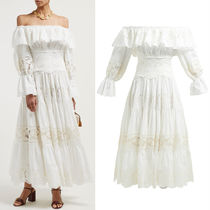 19SS DG1903 OFF SHOULDER DRESS WITH INTAGLIO EMBROIDERY