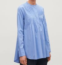"""COS""  PLEATED-FRONT COTTON SHIRT SKYBLUE"
