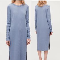 """COS"" RIBBED STRECH-COTTON JERSEY DRESS STONEWASH BLUE"