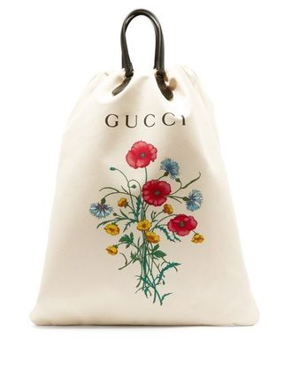 GUCCI トートバッグ グッチ☆Chateau Marmont ロゴ 花柄 キャンバス・トート バッグ