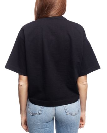 Acne Tシャツ・カットソー [Acne] Cylea Emboss Black Tee フロントロゴ入ボクシーTシャツ(2)