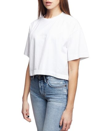 Acne Tシャツ・カットソー [Acne] Cylea Emboss white Tee フロントロゴ入ボクシーTシャツ