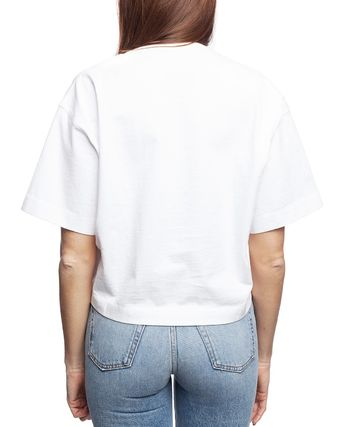 Acne Tシャツ・カットソー [Acne] Cylea Emboss white Tee フロントロゴ入ボクシーTシャツ(2)