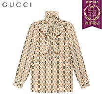 【正規品保証】GUCCI★19春夏★SILK SHIRT WITH WEB GG PRINT