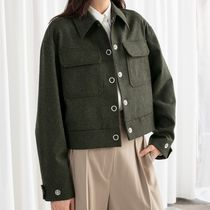 """& Other Stories"" Cropped Wool Blend Workwear Jacket Khaki"
