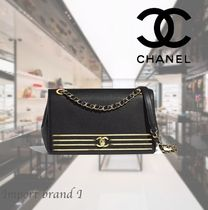 【CHANEL】Flap bag Embroidered grained calfskin & gold metal