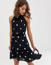 River Island swing dress with high neck in polka dot
