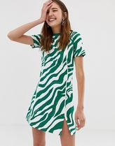 COLLUSION zebra printed skater dress