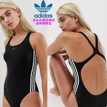 adidas Training Three Stripe Swimsuit In Black♪
