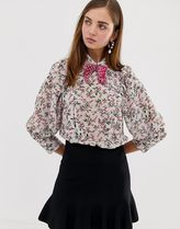 Sister Jane blouse with volume sleeves and velvet bow in b
