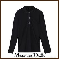 MassimoDutti♪RIBBED POLO SHIRT WITH BUTTONS