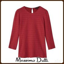 MassimoDutti♪COTTON T-SHIRT WITH TEXTURED WAVY TRIMS