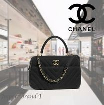 【CHANEL】 Bowling bag Jersey & gold metal