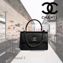 【CHANEL】Small flap bag with handle Calfskin & ruthenium